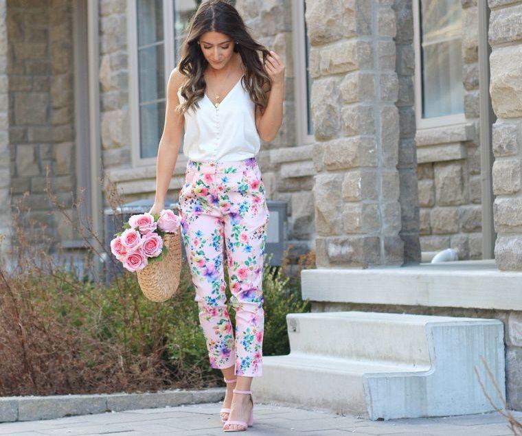 diseño floral pantalon