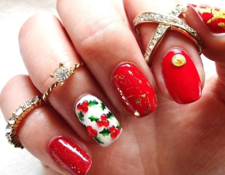 diseños de uñas navideñas acebo elegante