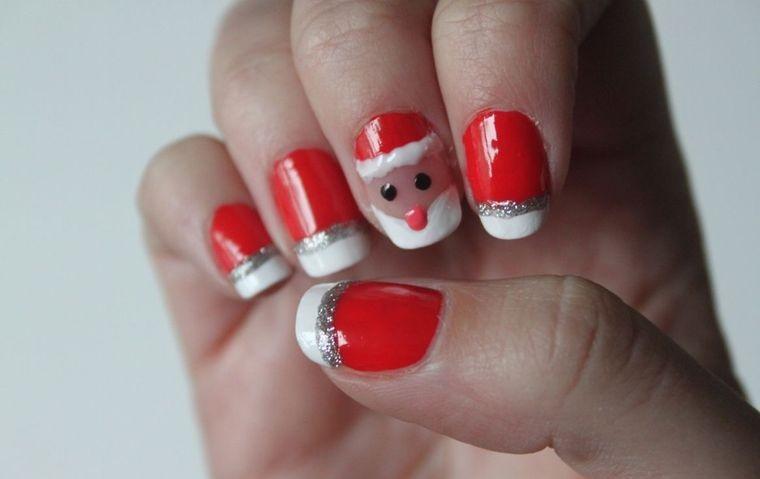 diseños de uñas navideñas cara santa