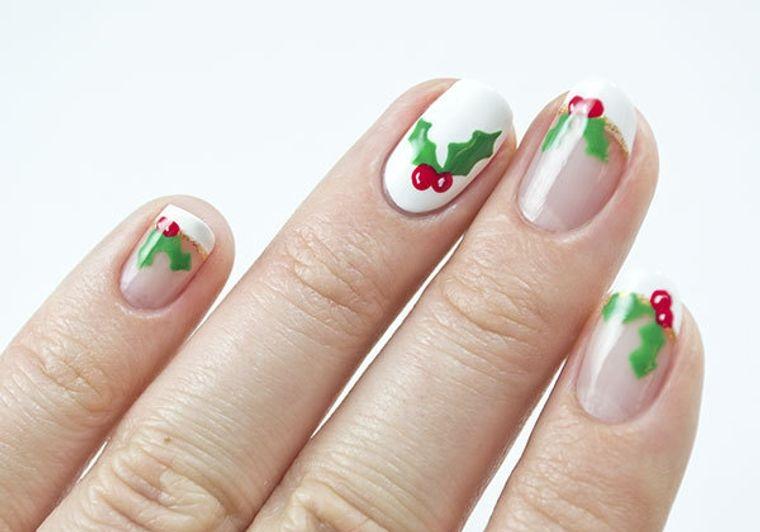 diseños de uñas navideñas con acebos