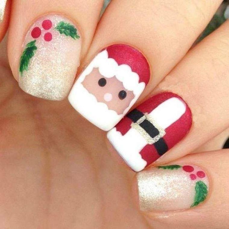 diseños de uñas navideñas con cara santa