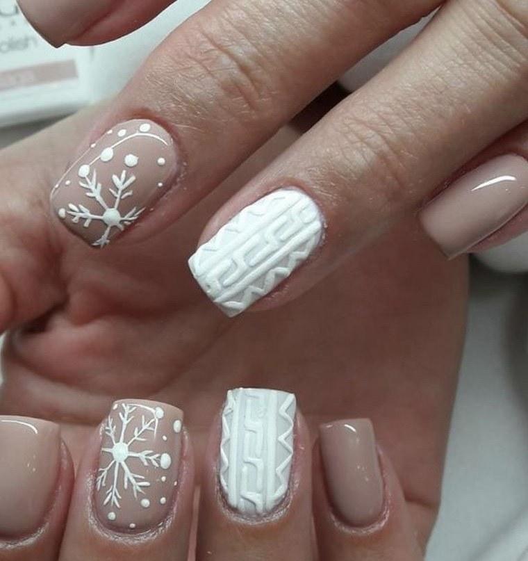 diseños de uñas navideñas con relieve