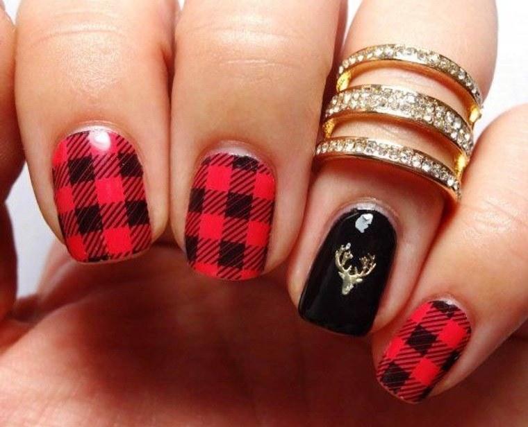 diseños de uñas navideñas cuadros