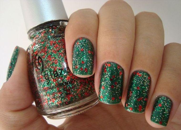 diseños de uñas navideñas esmalte