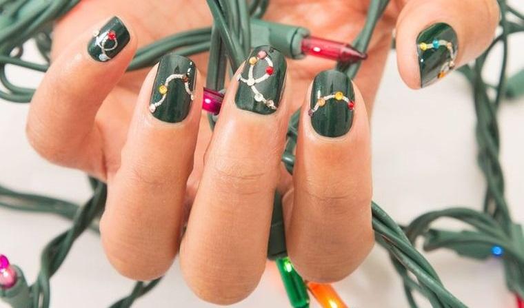 diseños de uñas navideñas luces