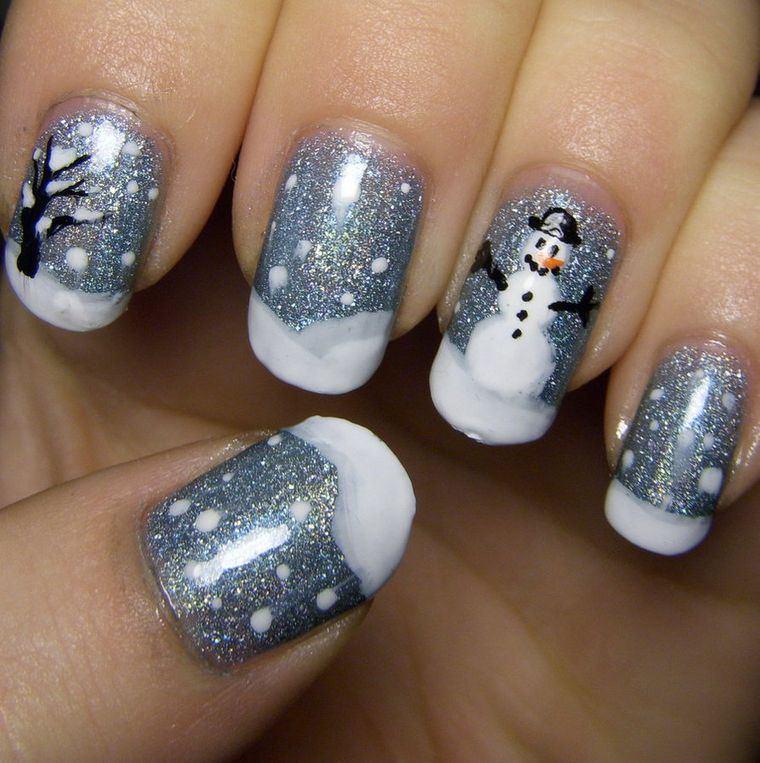 diseños de uñas navideñas muñeco