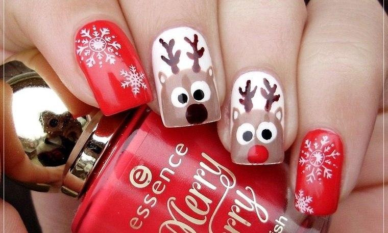 diseños de uñas navideñas renos