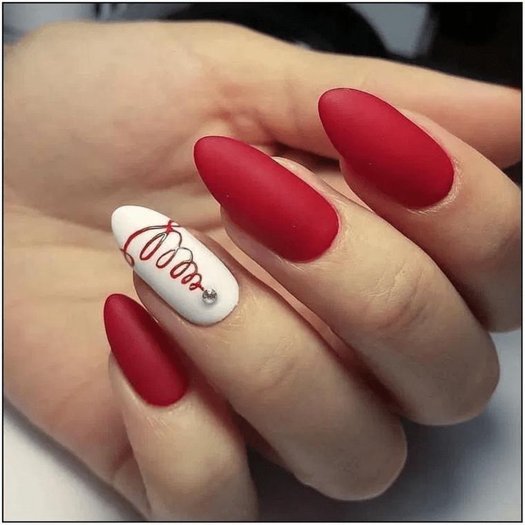 diseños de uñas navideñas rojo mate