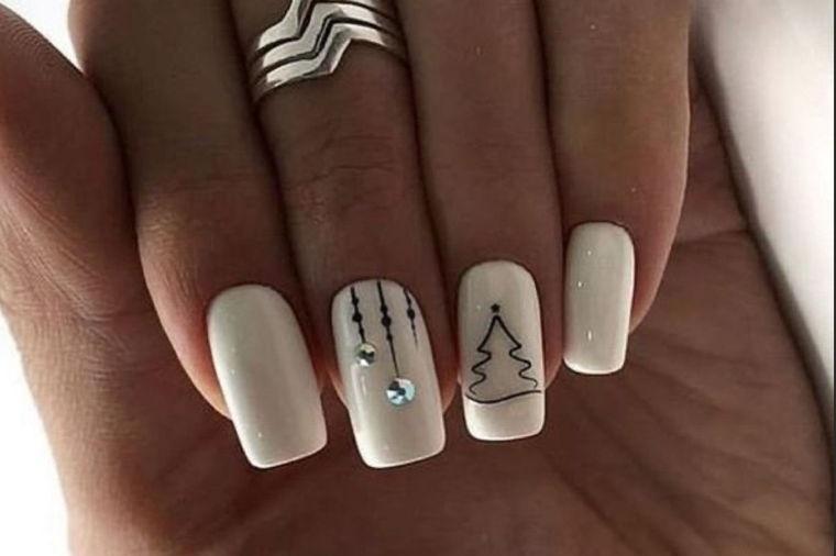 diseños de uñas navideñas sencillos