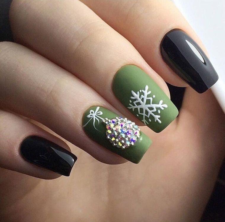 diseños de uñas navideñas verde