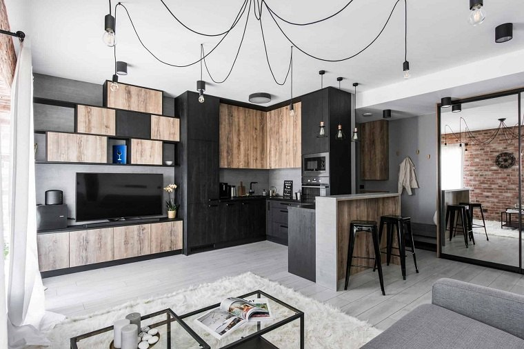 Cuartos gris con negro diseno-Authentic-Interior- monocromatico