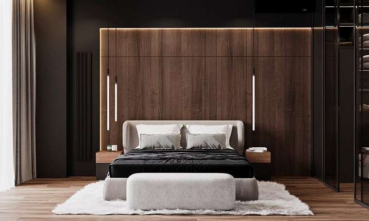 dormitorio-cama-pared-madera