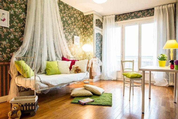 Dormitorios shabby chic ideas-papel-pared-verde