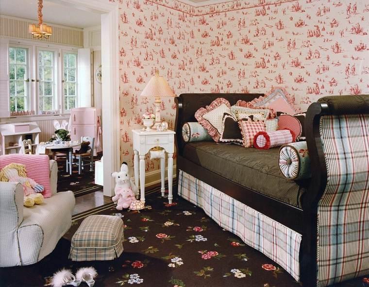 Dormitorios shabby chic ideas-papel-pared