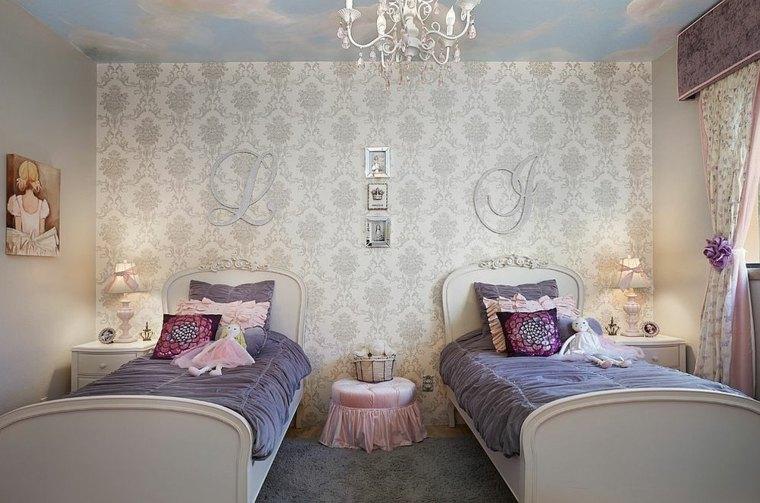 Dormitorios shabby chic papel-pared-ornamentos