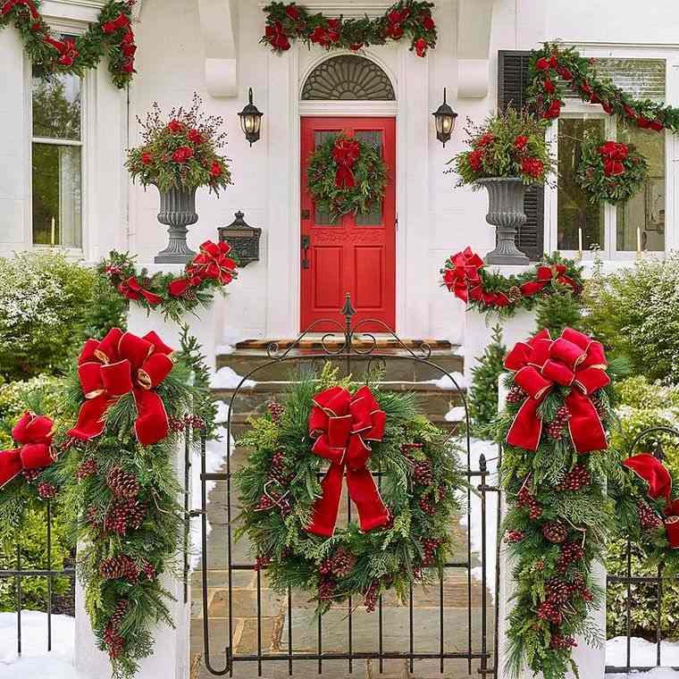 espíritu navideño decoracion con lazos