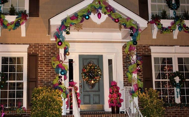 espíritu navideño decoracion exterior colorida