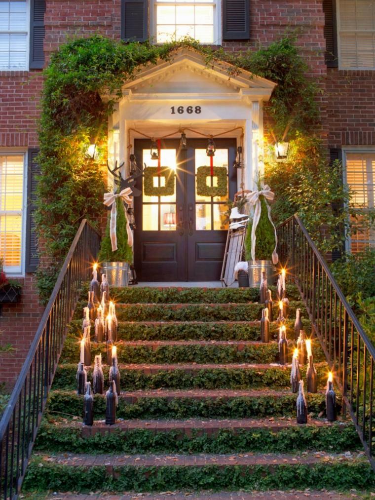 espíritu navideño decoracion exterior escaleras