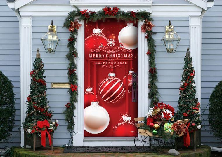 espíritu navideño puerta envuelta