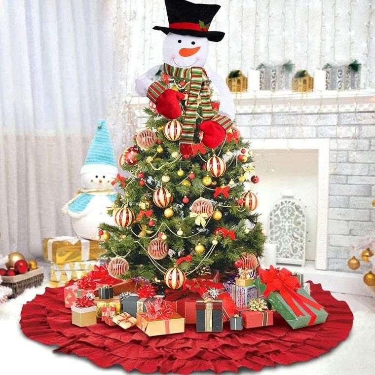 ideas para decorar arbol muñeco nieve