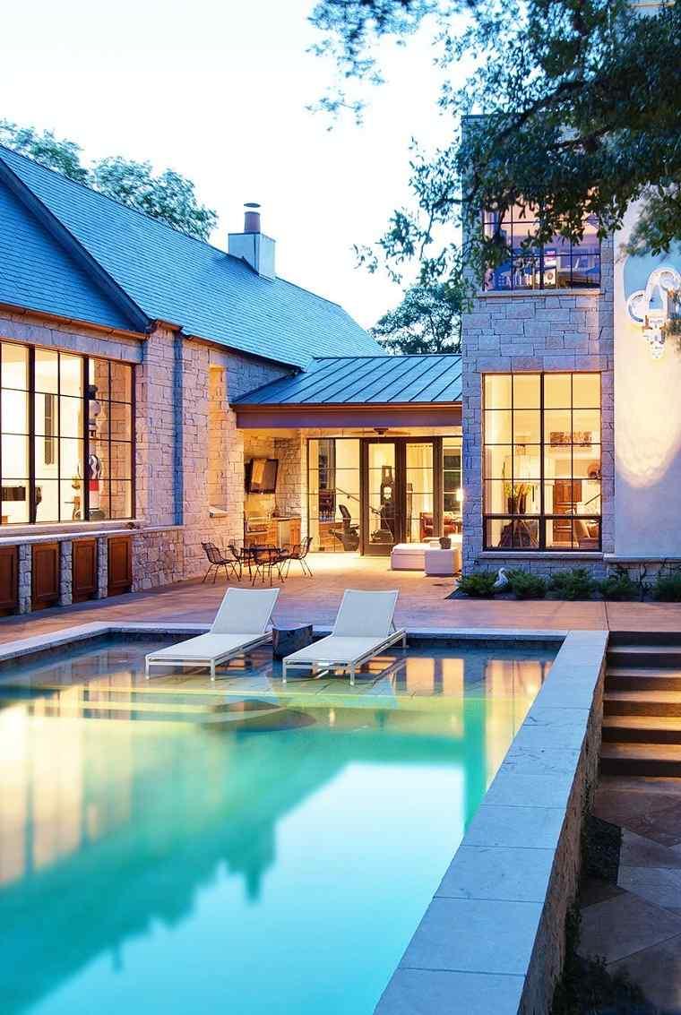 Cuidado de piscinas jardines-con-piscina-estilo-exterior
