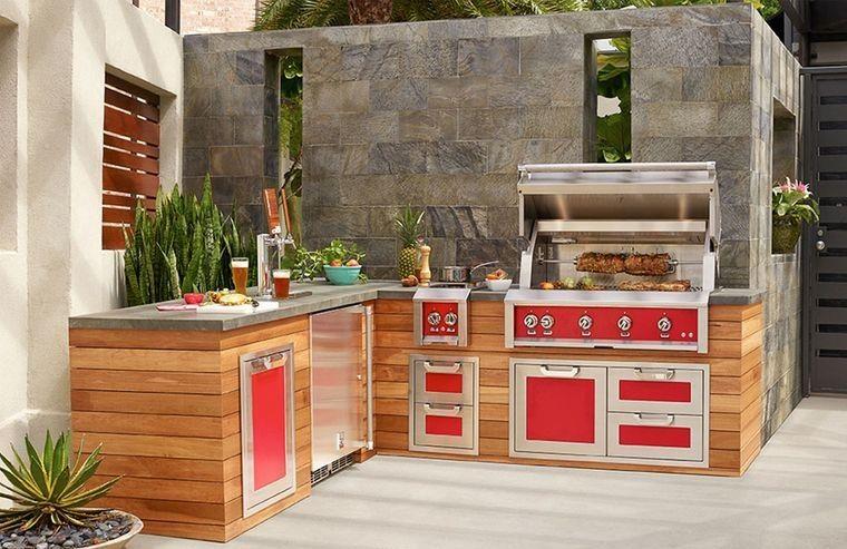 la cocina exterior con color