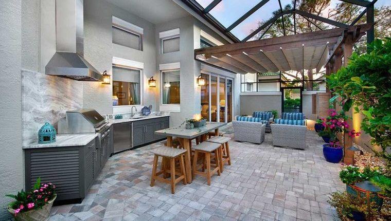 la cocina exterior gris azul