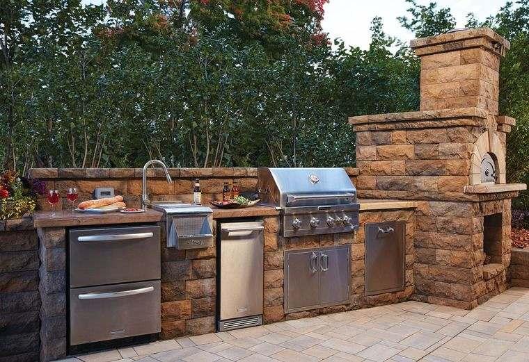 la cocina exterior piedra acero