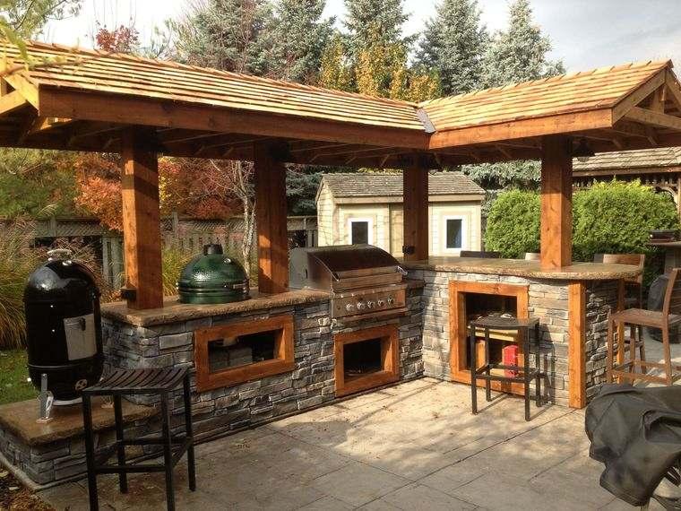 la cocina exterior piedra madera