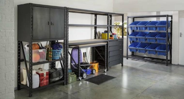organizar garaje con cubos almacenamiento