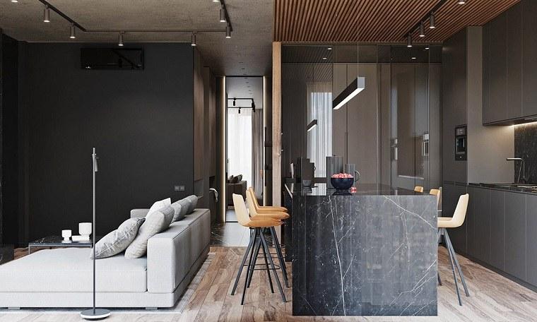 salon-ideas-cocina-espacio-abierto-isla-negra-marmol