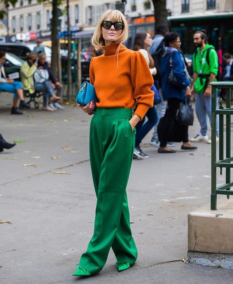 tonos naranja con verde