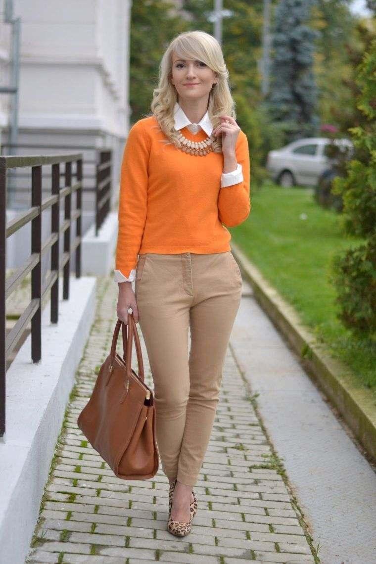 tonos naranja moda femenina