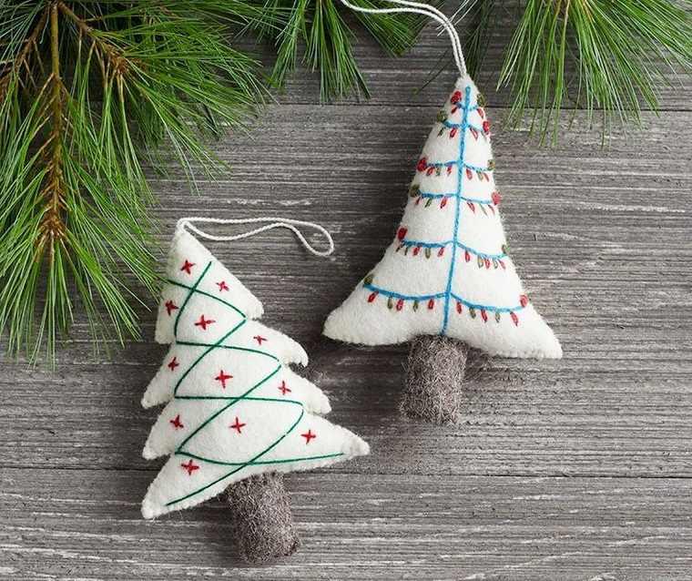 adornos navideños originales arboles fieltro