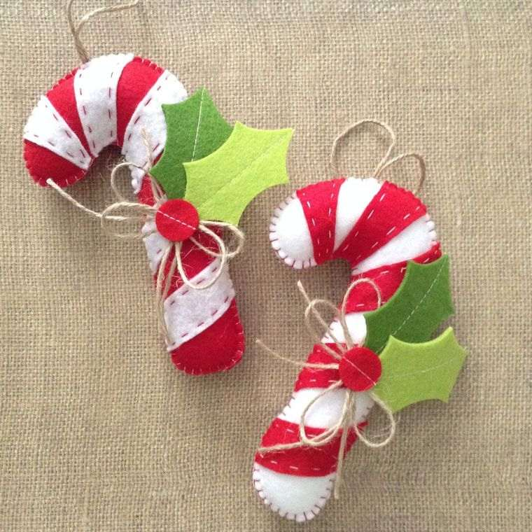 adornos navideños originales de fieltro bastones caramelo