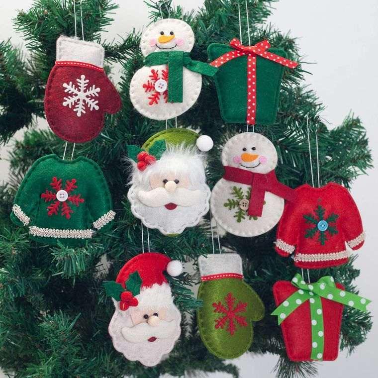 adornos navideños originales de fieltro