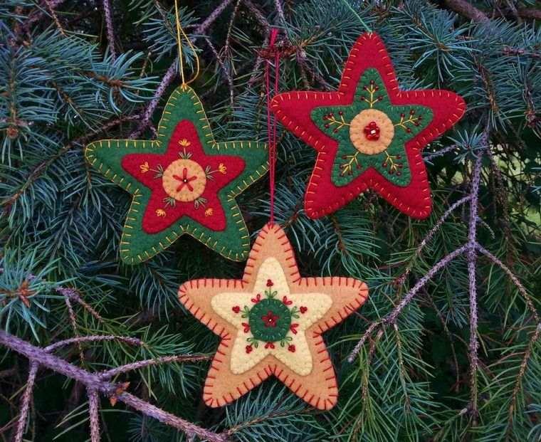 adornos navideños originales estrellas fieltro