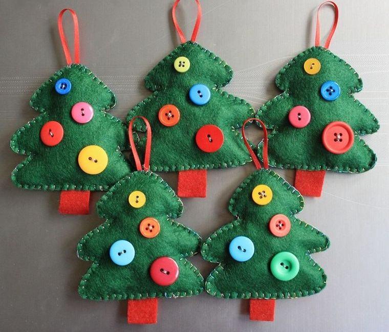 adornos navideños originales fieltro botones