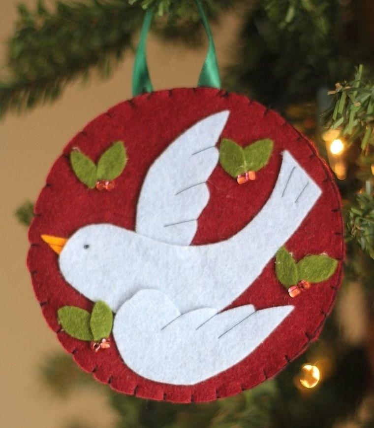adornos navideños originales fieltro paloma