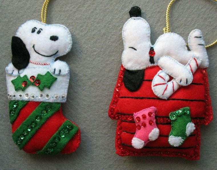 adornos navideños originales fieltro snoopy
