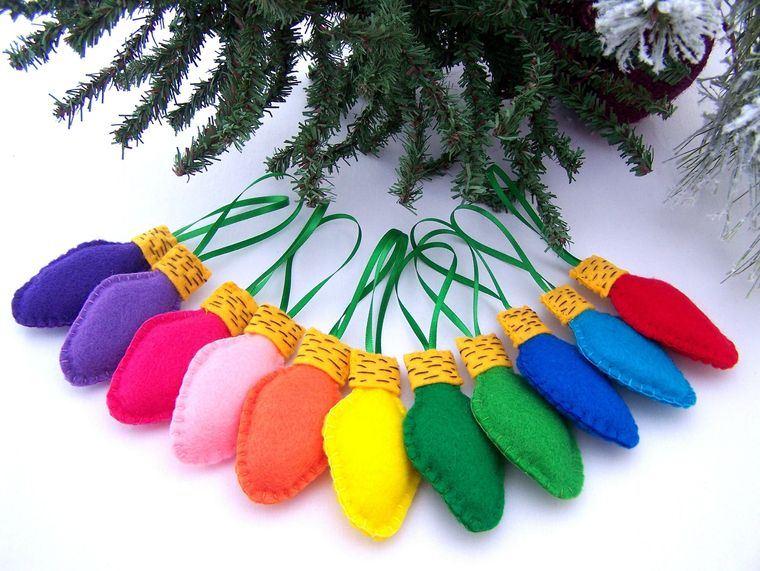 adornos navideños originales luces fieltro