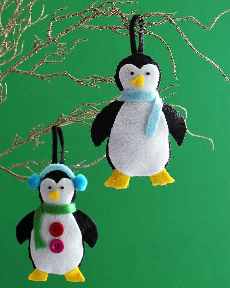 adornos navideños originales pinguinos fieltro