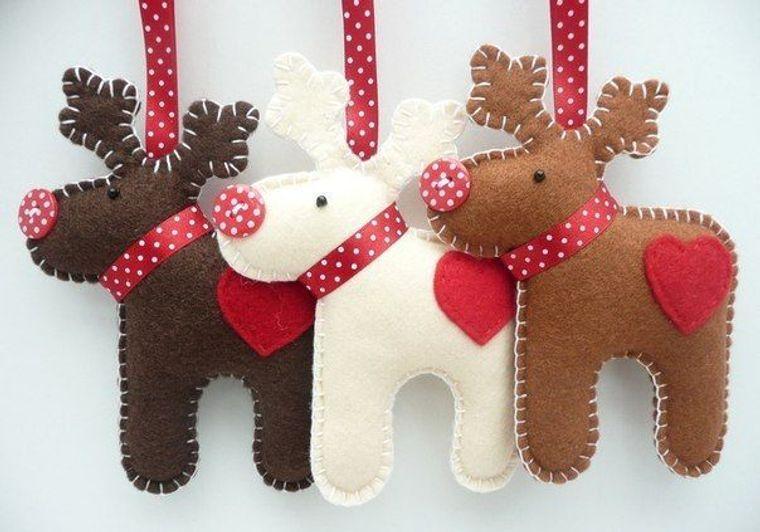 adornos navideños originales renos de fieltro
