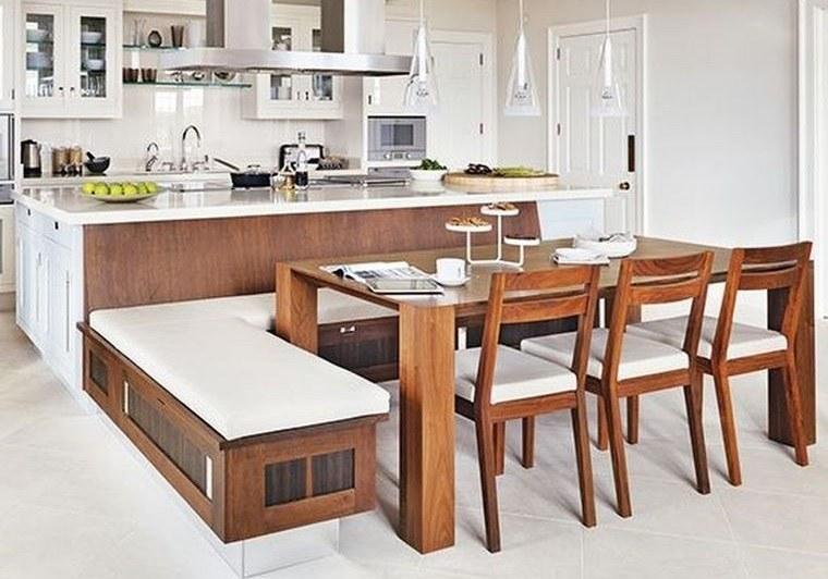 cocinas modernas asientos de madera