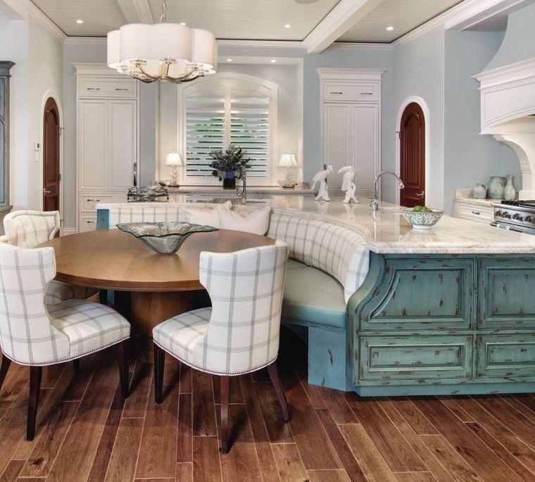 cocinas modernas blanco azul