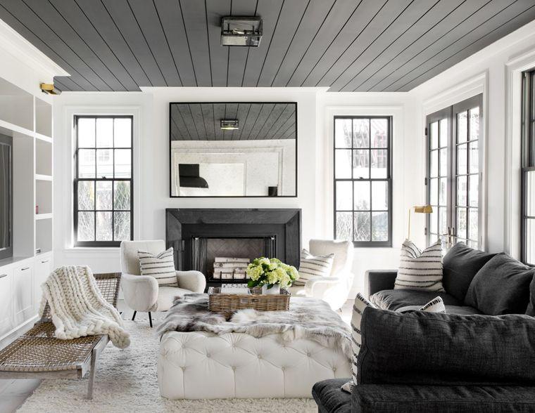 decoración de interiores blanco negro