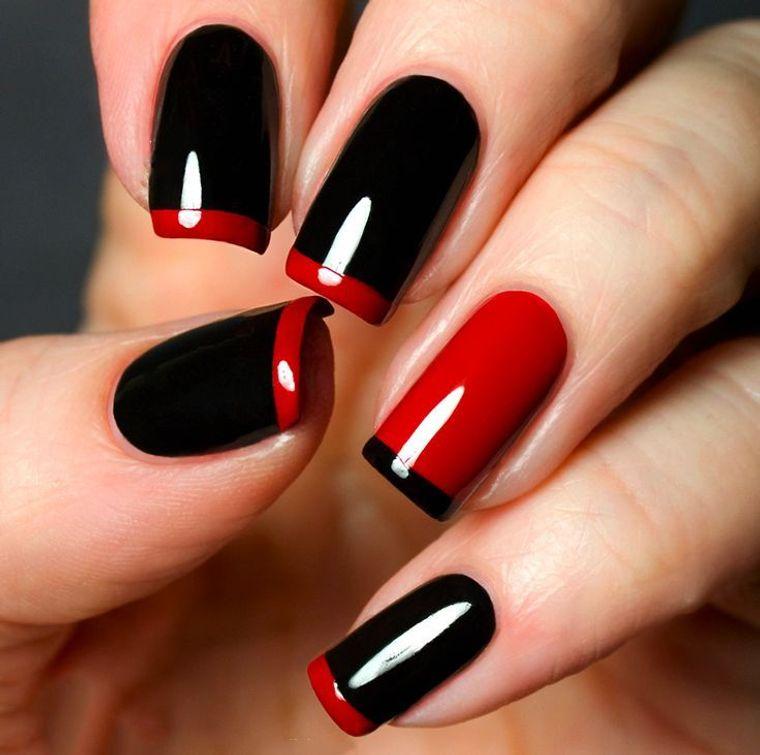 diseño de uñas negro rojo 2021