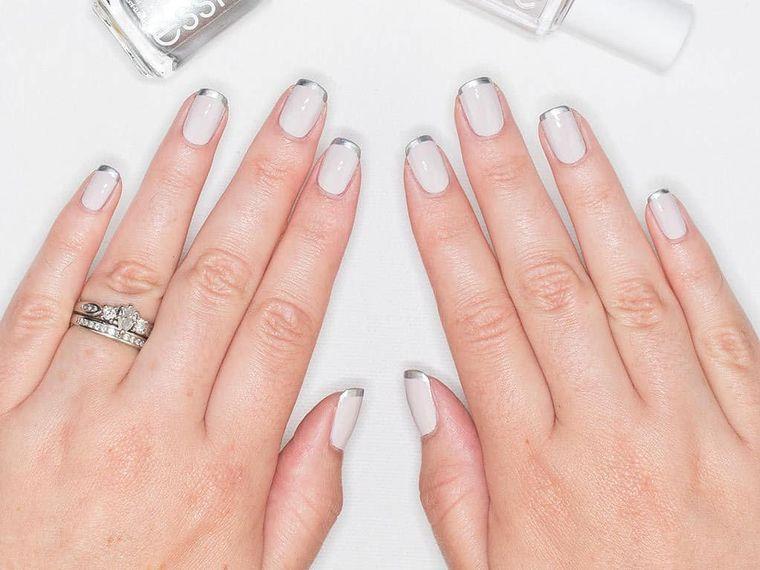 diseño de uñas punta plata 2021