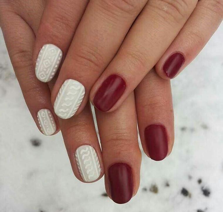 diseño de uñas rojo blanco