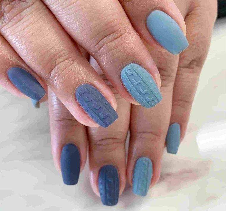 diseño de uñas sueter azul